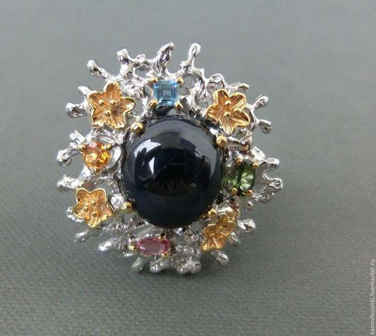 Кольца ручной работы. Ярмарка Мастеров - ручная работа. Купить 19 р-р кольцо сапфир редкий 6 лучей звездчатый серебро 925 золото. Handmade.