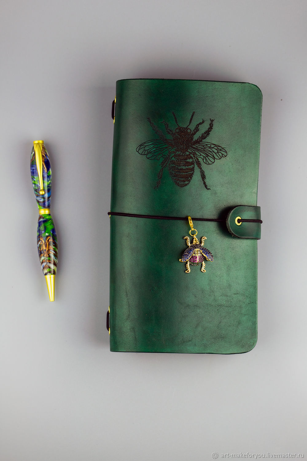 Leather emerald name glider with rhinestones, Planner Notebooks, Moscow,  Фото №1