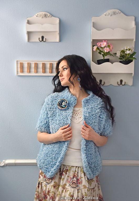 """Пиджаки, жакеты ручной работы. Ярмарка Мастеров - ручная работа. Купить Жакет """"Небесная мелодия"""". Handmade. Голубой, зима, красота"""