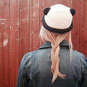 Аксессуары ручной работы. Ярмарка Мастеров - ручная работа шляпка с ушками Панда. Handmade.