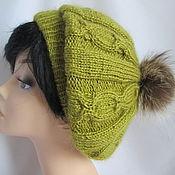 Аксессуары handmade. Livemaster - original item Takes olive . Beret Angora fine. Beret knitted. Handmade.