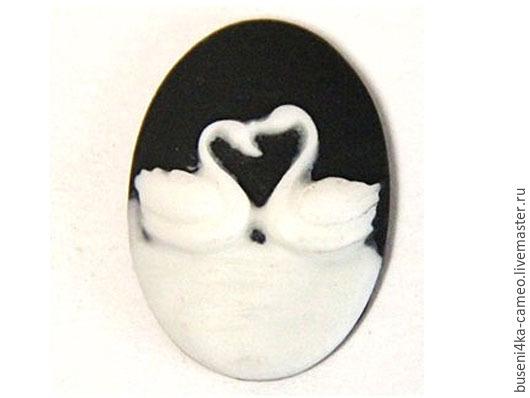 Для украшений ручной работы. Ярмарка Мастеров - ручная работа. Купить Камея Лебеди 18х25мм (пластик) 1шт.. Handmade. Камея
