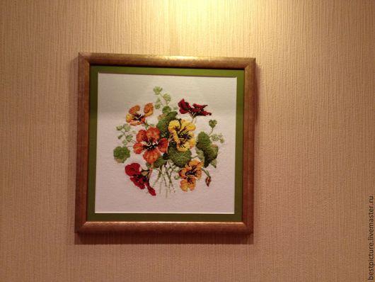 Картины цветов ручной работы. Ярмарка Мастеров - ручная работа. Купить Букет настурции. Вышитая картина. Цветы. Handmade. Рыжий