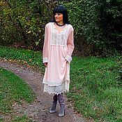 Одежда ручной работы. Ярмарка Мастеров - ручная работа Платье платье из ангоры и мохера с хлопковым кружевом (366). Handmade.