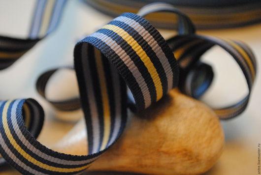"""Шитье ручной работы. Ярмарка Мастеров - ручная работа. Купить Репс темно синий серые и горчичная полосы Коллекция""""Орден""""(Греция). Handmade."""