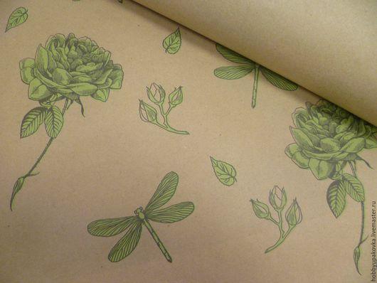 Упаковка ручной работы. Ярмарка Мастеров - ручная работа. Купить Крафт-бумага(зеленые розы) упаковочная 50х70 см. Handmade. Крафт