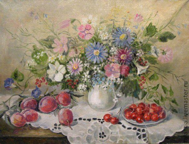 Натюрморт живопись цветы и фрукты