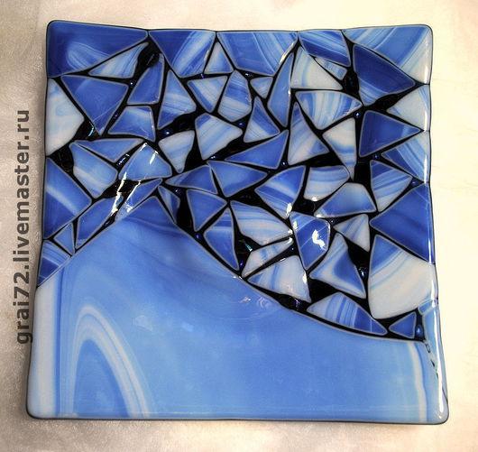 """Декоративная посуда ручной работы. Ярмарка Мастеров - ручная работа. Купить Тарелка """" Мозаичность в синих тонах """". Handmade."""