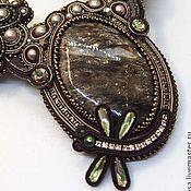 Украшения handmade. Livemaster - original item Soutache necklace with kodicom and green aventurine. Handmade.