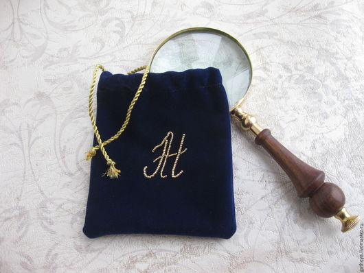 Персональные подарки ручной работы. Ярмарка Мастеров - ручная работа. Купить Бархатный мешочек с монограммой, вышитой бисером. Handmade.