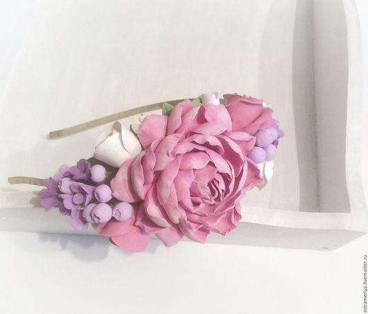 Диадемы, обручи ручной работы. Ярмарка Мастеров - ручная работа. Купить Ободок для волос с цветами Пастель. Handmade. Розовый, для принцессы