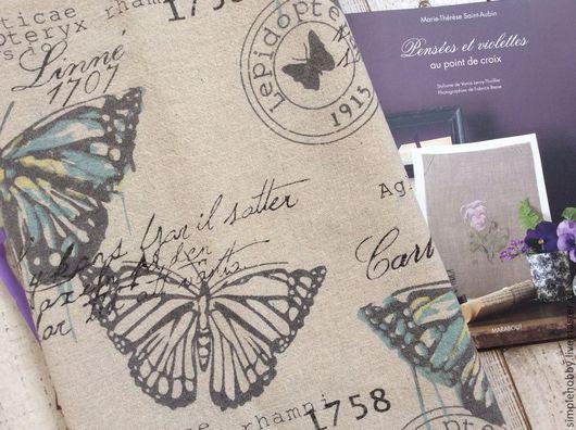 """Шитье ручной работы. Ярмарка Мастеров - ручная работа. Купить Ткань лен """"Винтажные бабочки"""". Handmade. Принт, ткань для пэчворка"""