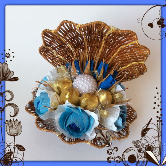 Кулинарные сувениры ручной работы. Ярмарка Мастеров - ручная работа. Купить Сладкая ракушка из конфет. Handmade. Комбинированный, подарок на свадьбу