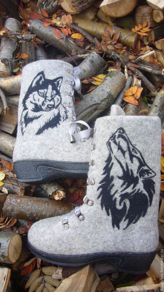 """Обувь ручной работы. Ярмарка Мастеров - ручная работа. Купить валенки """"Волк"""" -2. Handmade. Серый, валенки ручной работы"""