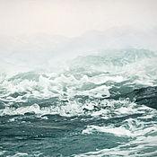 """Картины и панно ручной работы. Ярмарка Мастеров - ручная работа Картина Абстрактный морской пейзаж с волнами """"Туманность Адриатики"""". Handmade."""