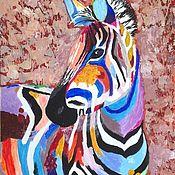 Pictures handmade. Livemaster - original item The picture of acrylic Zebra. Handmade.