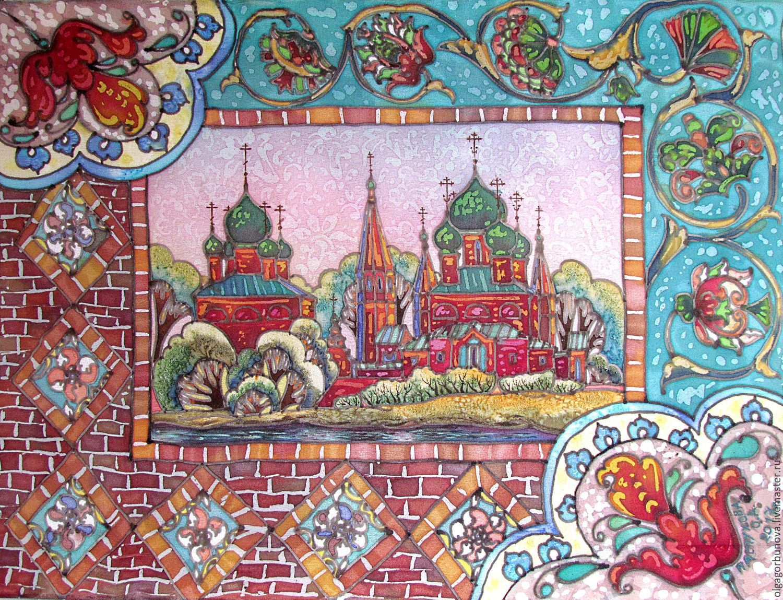 Batik painting 'the Temple complex in Korovniki. Yaroslavl ', Pictures, Yaroslavl,  Фото №1