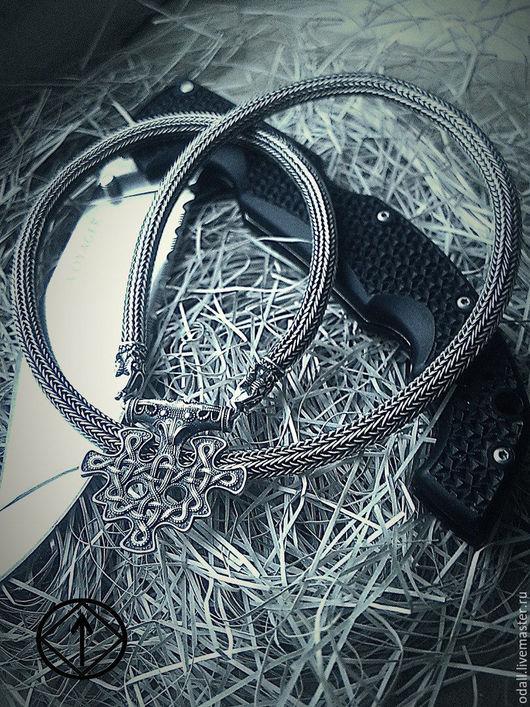 Украшения для мужчин, ручной работы. Ярмарка Мастеров - ручная работа. Купить Цепь плетеная. Handmade. Черный, славянский оберег