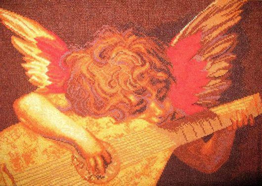 """Фантазийные сюжеты ручной работы. Ярмарка Мастеров - ручная работа. Купить Картина """"Ангел с лютней"""". Handmade. Вышитая картина"""