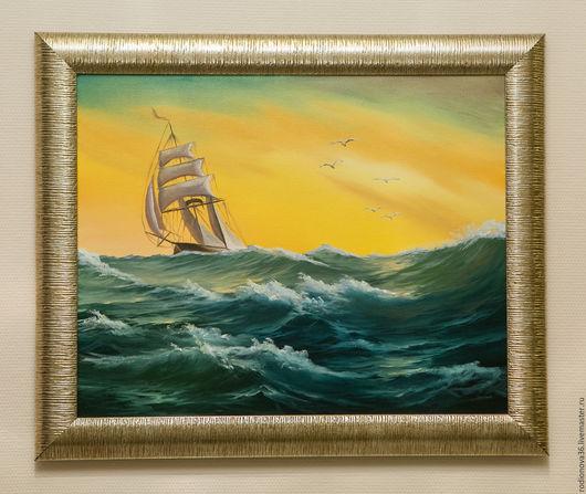 Картины цветов ручной работы. Ярмарка Мастеров - ручная работа. Купить Попутный ветер (по мотивам). Handmade. Морская волна