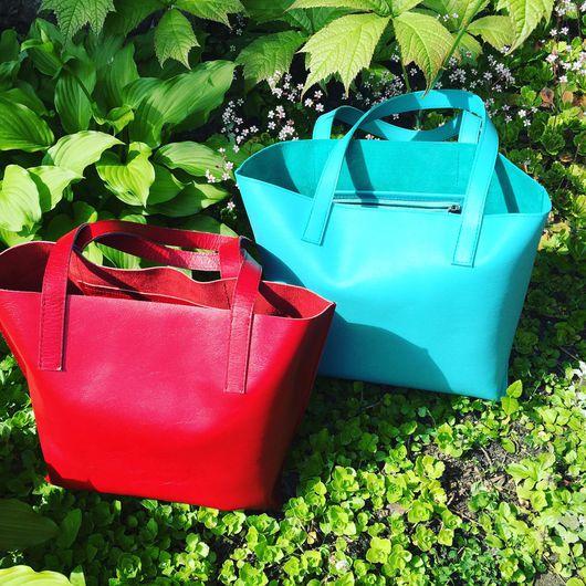 Женские сумки ручной работы. Ярмарка Мастеров - ручная работа. Купить Кожаная сумка - красная и мятная. Handmade. яркая сумка
