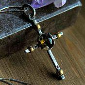Украшения handmade. Livemaster - original item Pendant silver pendant, natural stones, sterling silver pendant Cross. Handmade.