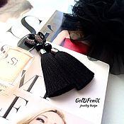 Tassel earrings handmade. Livemaster - original item Earrings-brush Total black black silk Agatha black. Handmade.