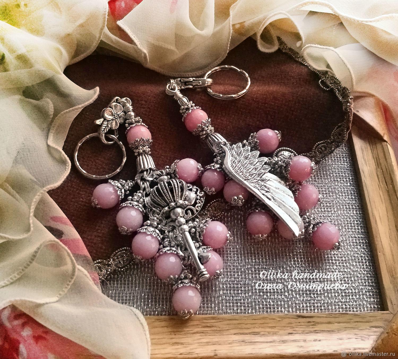 Брелок Крыло Ангела, украшение на сумку розовый брелок