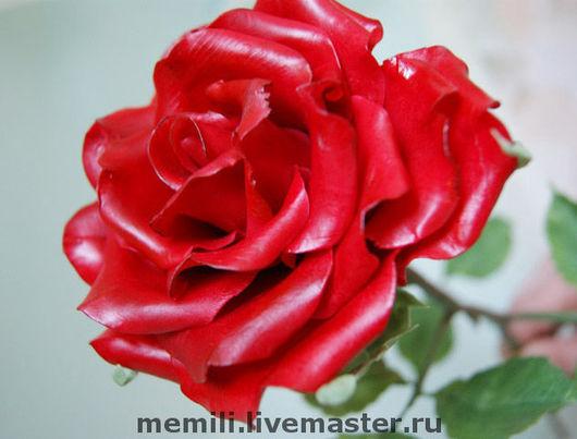 Цветы ручной работы. Ярмарка Мастеров - ручная работа. Купить Красная роза (крупная). Handmade. Роза, бордо