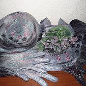 Аксессуары ручной работы. Ярмарка Мастеров - ручная работа Валяный комплект: бактус, берет и перчатки.. Handmade.