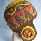 Аксессуары handmade. Livemaster - original item Felted beanie helmet Mexican patterns. Handmade.