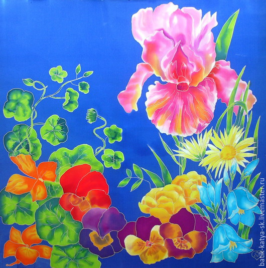 """Шали, палантины ручной работы. Ярмарка Мастеров - ручная работа. Купить Батик платок """"Букет цветов. Лето"""". Handmade. Синий"""