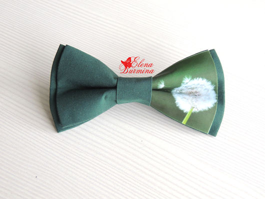 Галстуки, бабочки ручной работы. Ярмарка Мастеров - ручная работа. Купить Бабочка галстук с одуванчиком темно-зеленая, хлопок. Handmade.