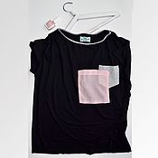 Одежда handmade. Livemaster - original item T-shirt in viscose with a loose black pockets. Handmade.