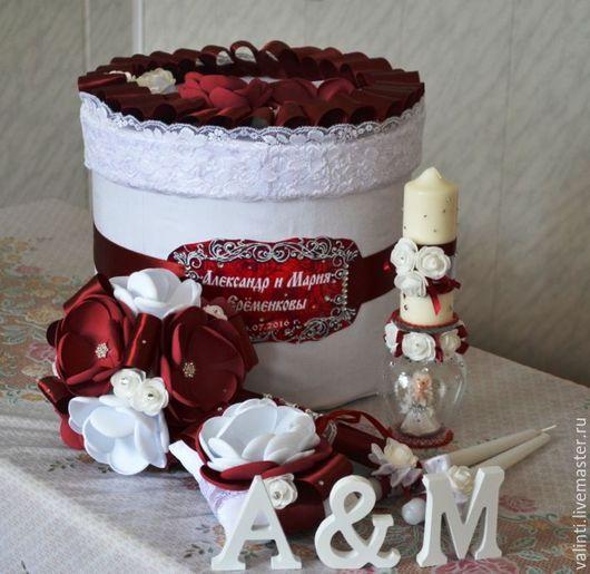 Свадебные аксессуары ручной работы. Ярмарка Мастеров - ручная работа. Купить Аксессуары для свадьбы. Handmade. Бордовый, цветы ручной работы