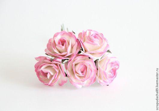 Открытки и скрапбукинг ручной работы. Ярмарка Мастеров - ручная работа. Купить Макси-розы розово-белые 5 шт.. Handmade.