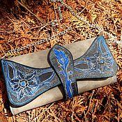 Сумки и аксессуары ручной работы. Ярмарка Мастеров - ручная работа Клатч кошелек кожаный женский Magnifico Blue Flowers. Handmade.