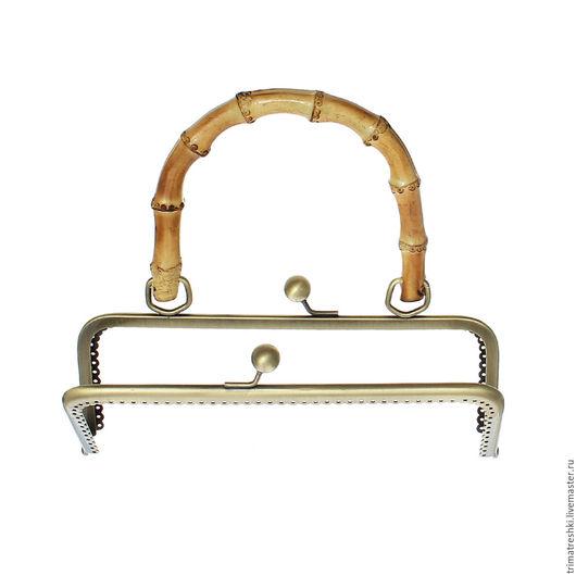 Шитье ручной работы. Ярмарка Мастеров - ручная работа. Купить Фермуар пришивной с бамбуковой ручкой  20.1 x 18,5 см. Handmade.