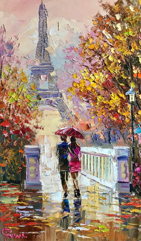 Осенний Париж, холст, 30х50 см, Картины, Рязань, Фото №1