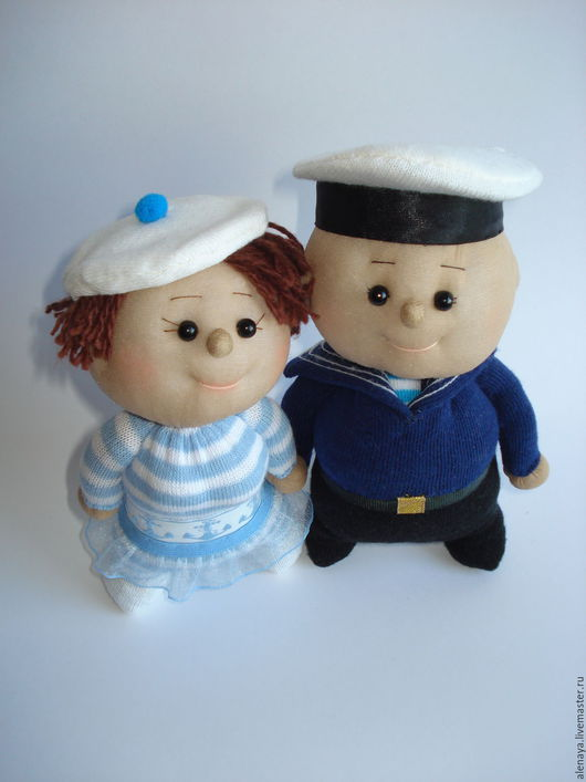 Человечки ручной работы. Ярмарка Мастеров - ручная работа. Купить Кукла пупс. Ты - морячка, я - моряк.(2). Handmade. Голубой