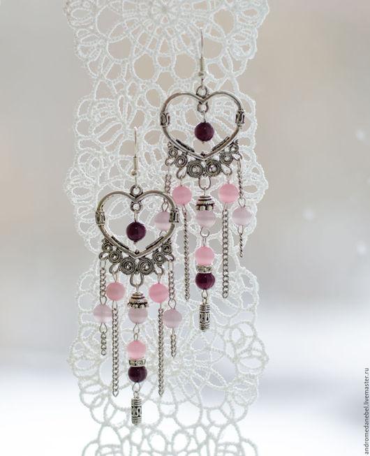 Серьги ручной работы. Ярмарка Мастеров - ручная работа. Купить Серьги Розовое сердце. Handmade. Серьги, серьги с подвесками, тюмень