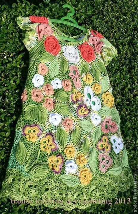 """Одежда для девочек, ручной работы. Ярмарка Мастеров - ручная работа. Купить Детское платье """"Summer garden""""- ирландское кружево. Handmade."""