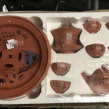 Винтаж ручной работы. Ярмарка Мастеров - ручная работа Винтаж: Китайский терракотовый чайный сервиз в упаковке. Handmade.