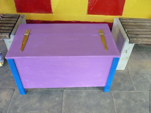 Мебель ручной работы. Ярмарка Мастеров - ручная работа. Купить Ящик для сада. Handmade. Фиолетовый, ящик из дерева, ящик для игрушек