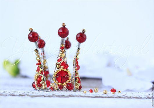 Детская бижутерия ручной работы. Ярмарка Мастеров - ручная работа. Купить Корона красная. Корона на голову. Диадема. Handmade.