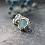 Украшения handmade. Livemaster - original item Earrings-ear-stud with blue chalcedonies. Handmade.