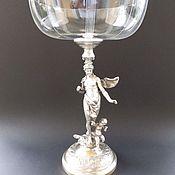 Старинная высокая ваза,серебряное покрытие,хрусталь