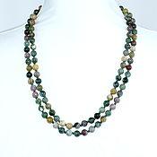 Работы для детей, handmade. Livemaster - original item Long necklace, natural moss agate. Handmade.