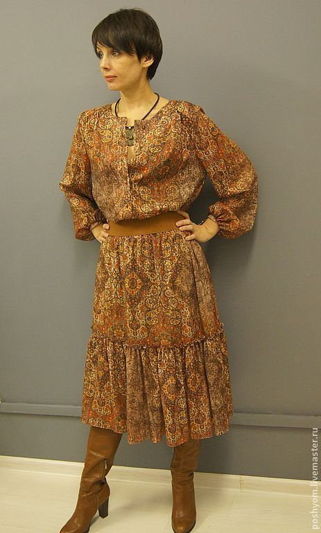 Платья ручной работы. Ярмарка Мастеров - ручная работа. Купить Платье Хиппи. Handmade. Рыжий, женственность, вискоза