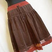 Одежда ручной работы. Ярмарка Мастеров - ручная работа Вельветовая юбка коричневая. Handmade.
